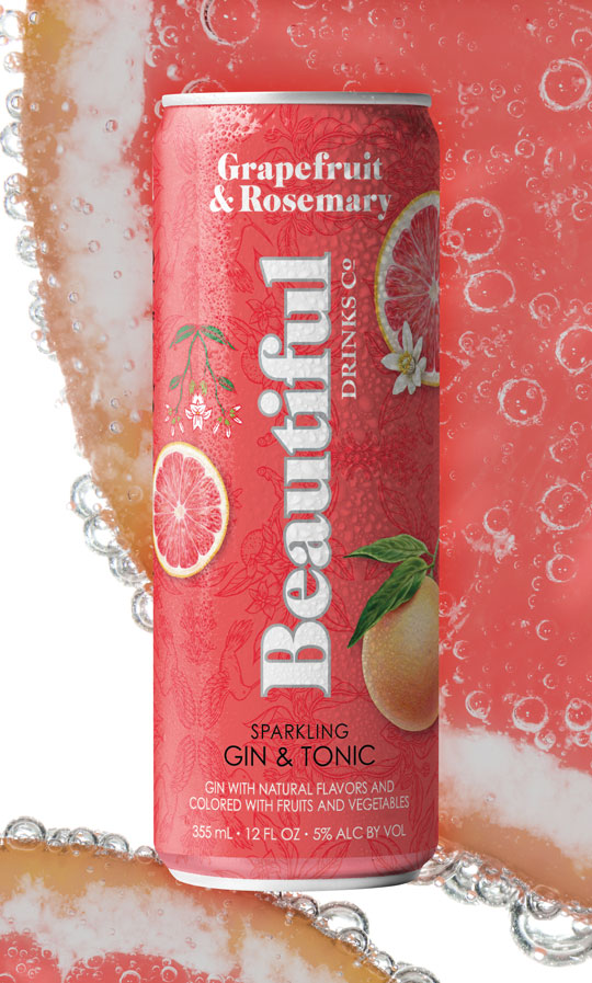 Grapefruit & Rosemary Sparkling Gin Tonic - Beautiful Drinks Company - Home Tile