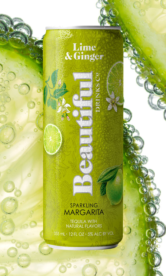 Lime & Ginger Sparkling Margarita - Beautiful Drinks Company - Home Tile